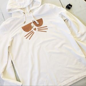 Karl Lagerfeld White Gold Cat with Sunglass Hoodie